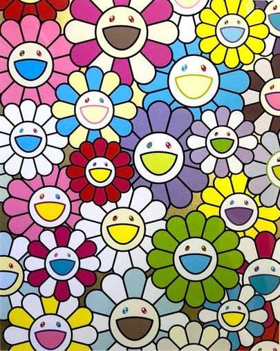 A Little Flower Painting: Yellow, White and Purple Flowers by Takashi Murakami